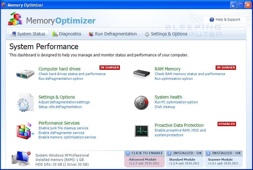 Memory Optimizer screen shot
