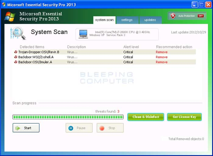 Micorsoft Essential Security Pro 2013 screenshot