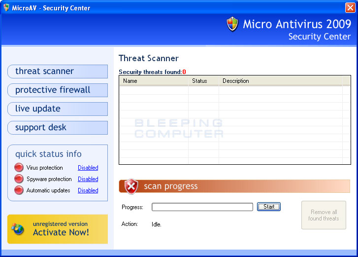 Micro Antivirus 2009 screen shot