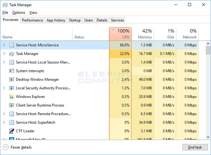 MicroService Miner in Windows 10 Task Manager