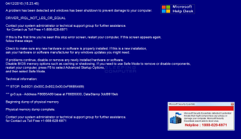 Fake Microsoft Help Desk Tech Support Scam Screenshot