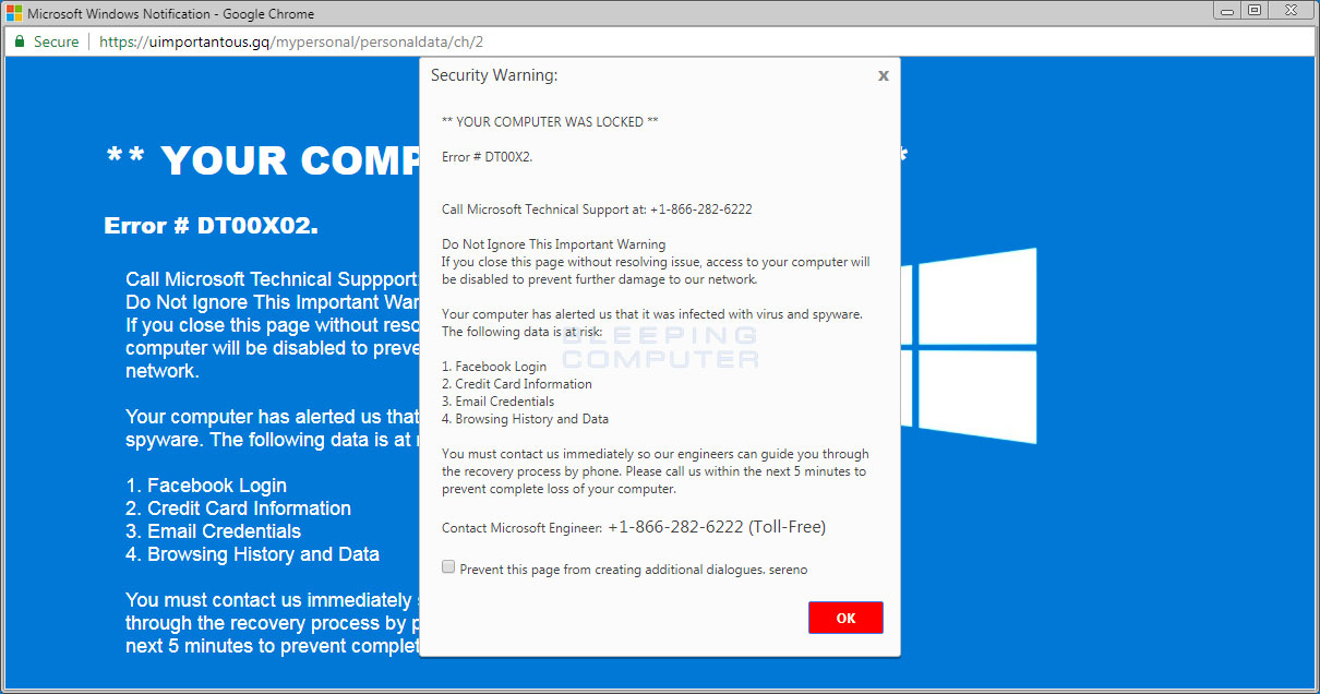 Remove the Microsoft Windows Notification Tech Support Scam