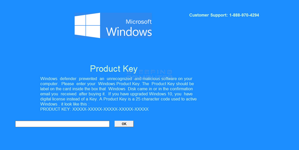 Microsoft Windows Product Key Tech Support Scam