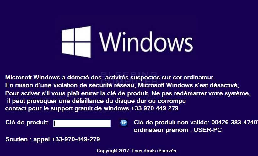 Microsoft Windows s'est désactivé Tech Support Scam