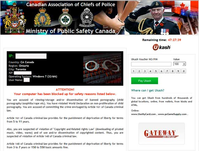 Ministry of Public Safety Canada Ransomware screen shot