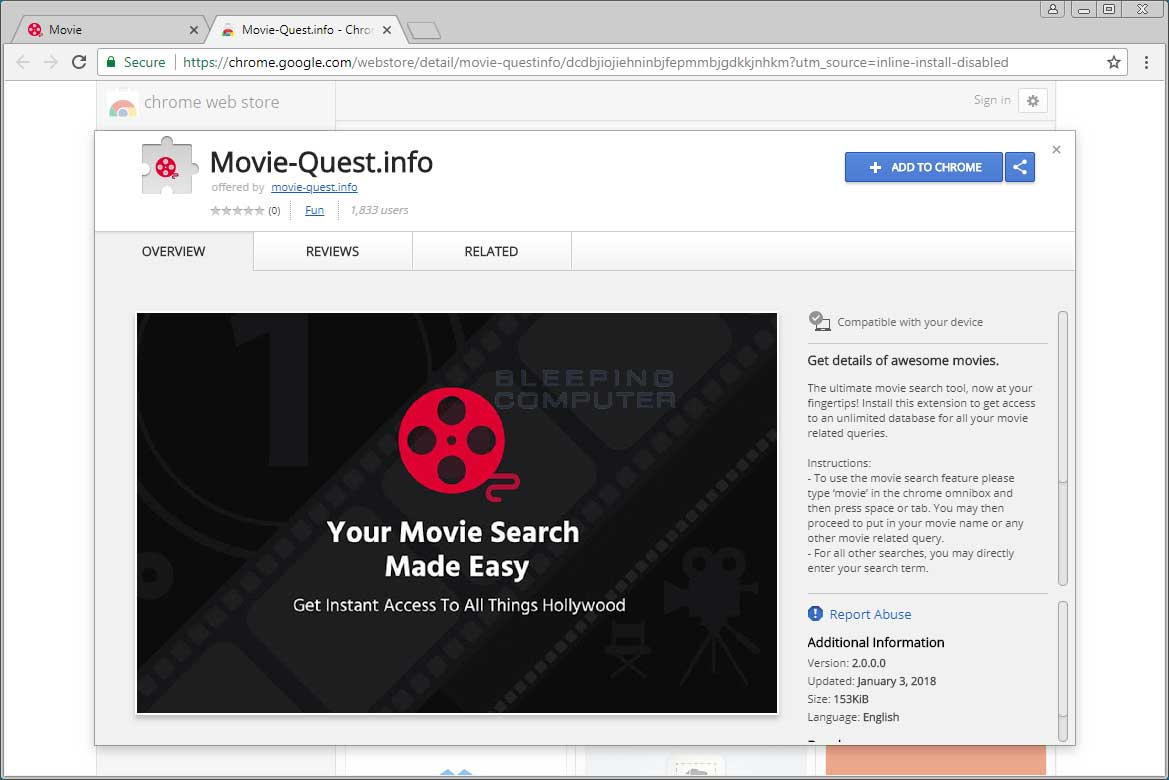 Movie-Quest.info Chrome Web Store Page