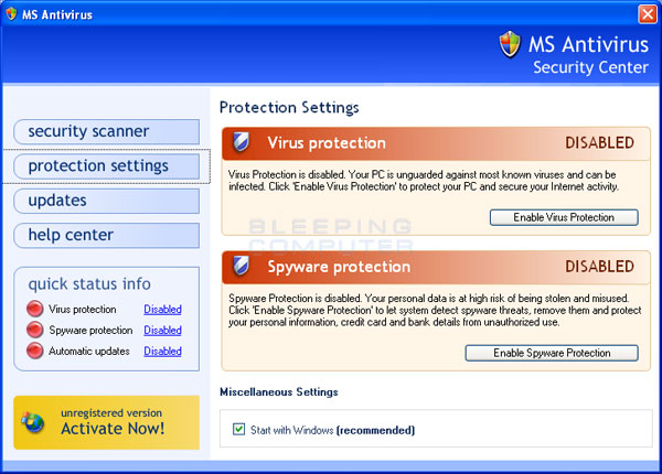 MS Antivirus screen shot