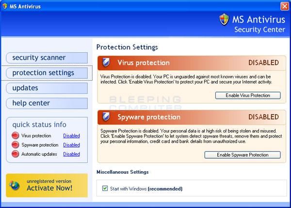 MS Antivirus screen shot