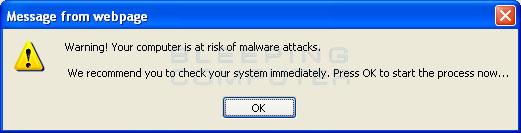 Fake web popup