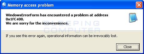 Memory access problem alert
