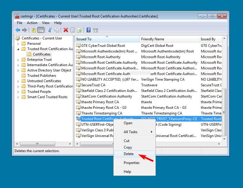 Delete DO_NOT_TRUST_TitaniumProxy-CE certificate