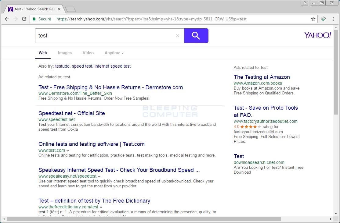 Search Results from Yahoo