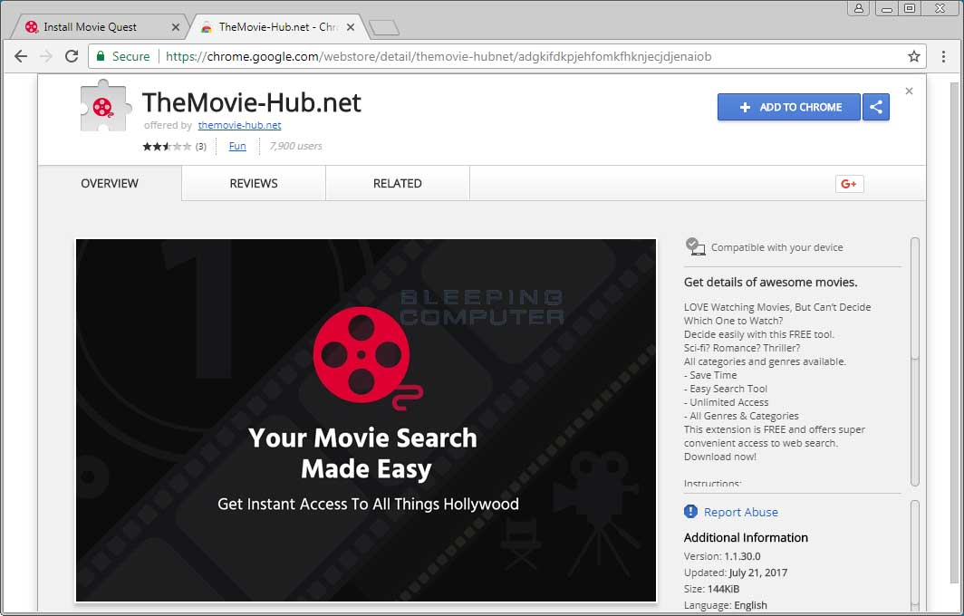 TheMovie-Hub.net Chrome Web Store Page