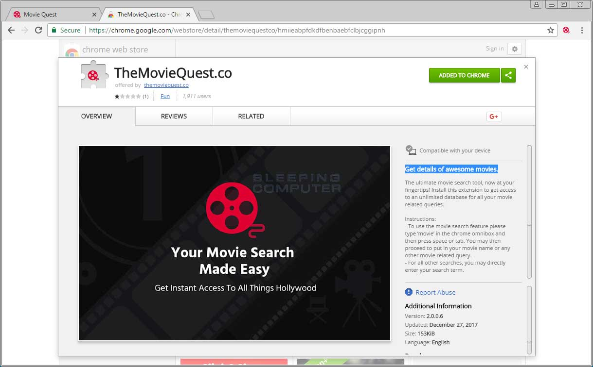 TheMovieQuest.co Chrome Store Page