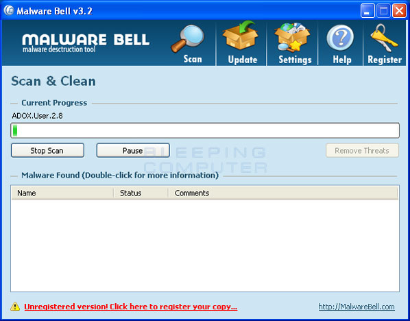 Malware Bell Screenshot