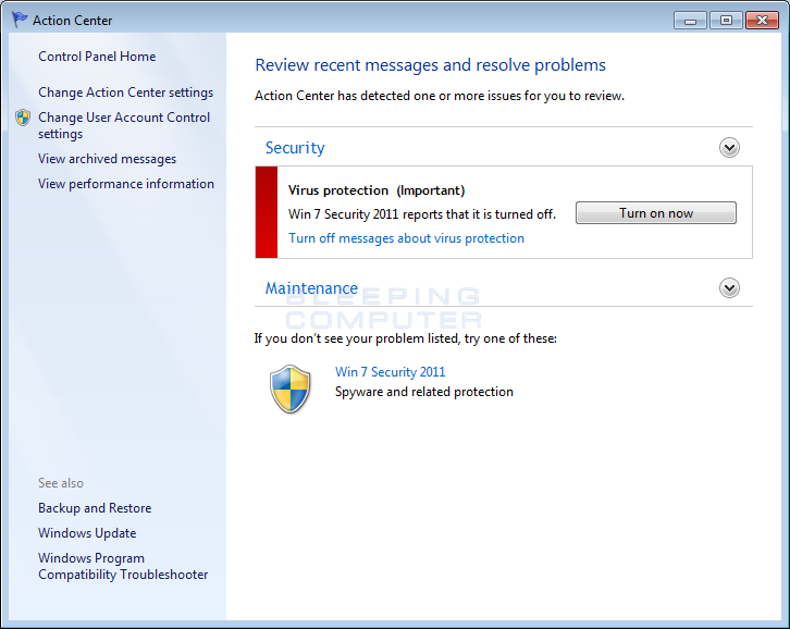 Fake Windows 7 Action Center alert