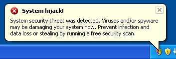 Fake system hijack alert