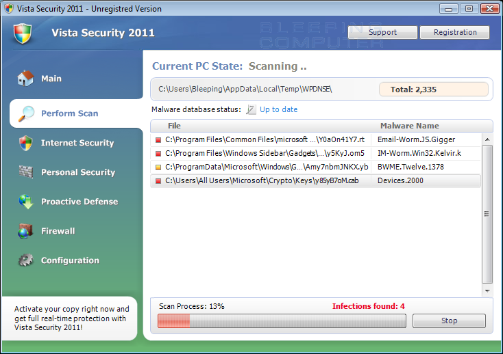 Vista Security 2011 screen shot