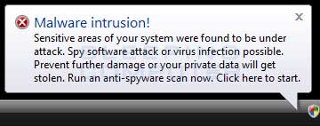 Fake Malware Intrusion Alert