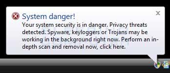 Fake System Danger Alert