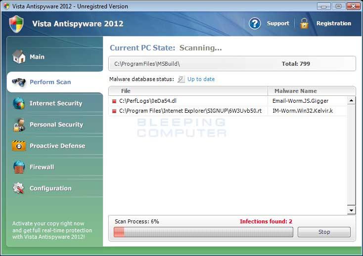 Vista Antispyware 2012 Screen shot