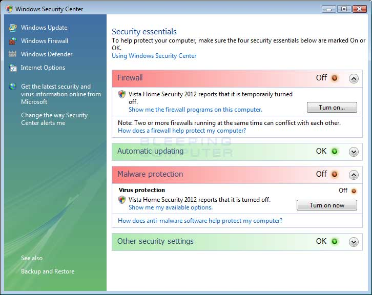 Windows Vista Windows Security Center