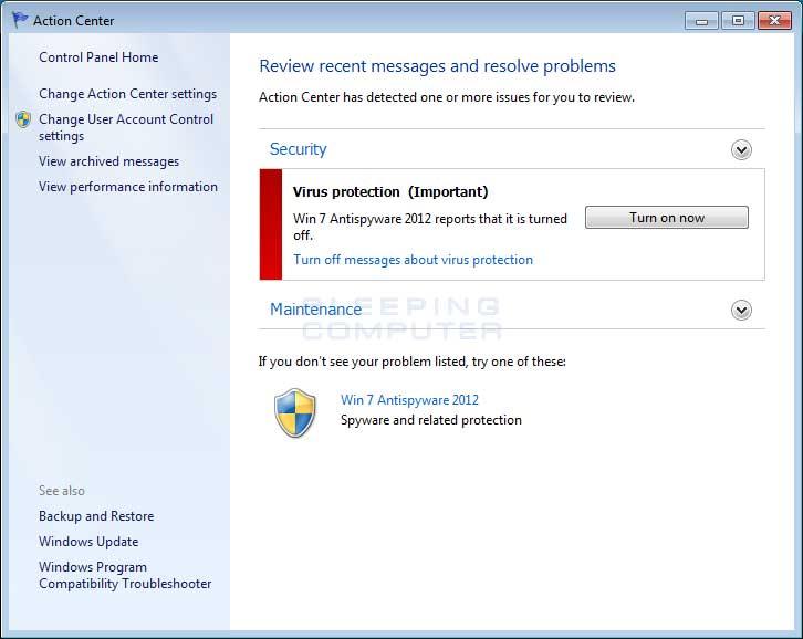 Windows 7 Action Center