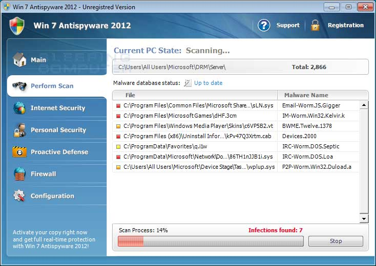 Win 7 Antispyware 2012 Screen shot