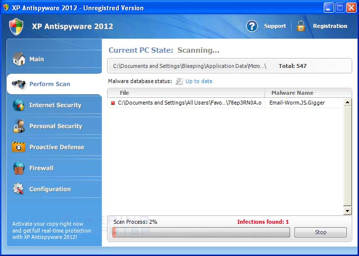 XP Antispyware 2012 Screen shot