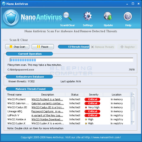 Nano Antivirus screen shot