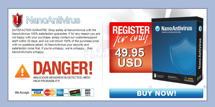 Purchase page for NanoAntivirus