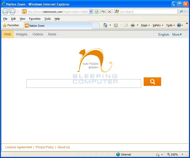 Nationzoom.com Browser Hijacker Screen Shot