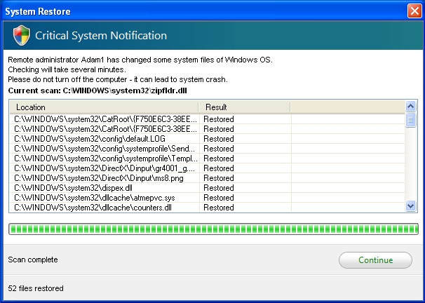 Fake System Restore alert