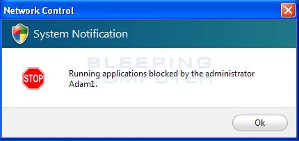 Remote application blocked alert