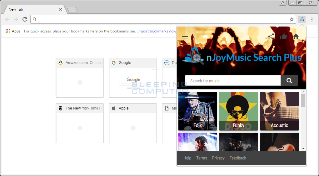 nJoy Music Search Plus Extension