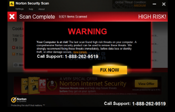 Fake Norton Security Scan Tech Support Scam Screenshot