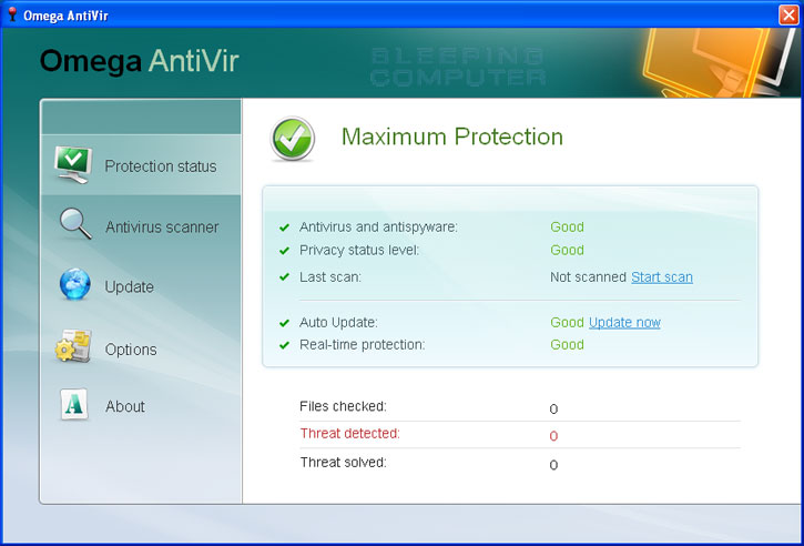 Omega AntiVir screen shot