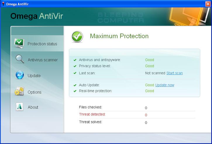 Omega AntiVir screen shot