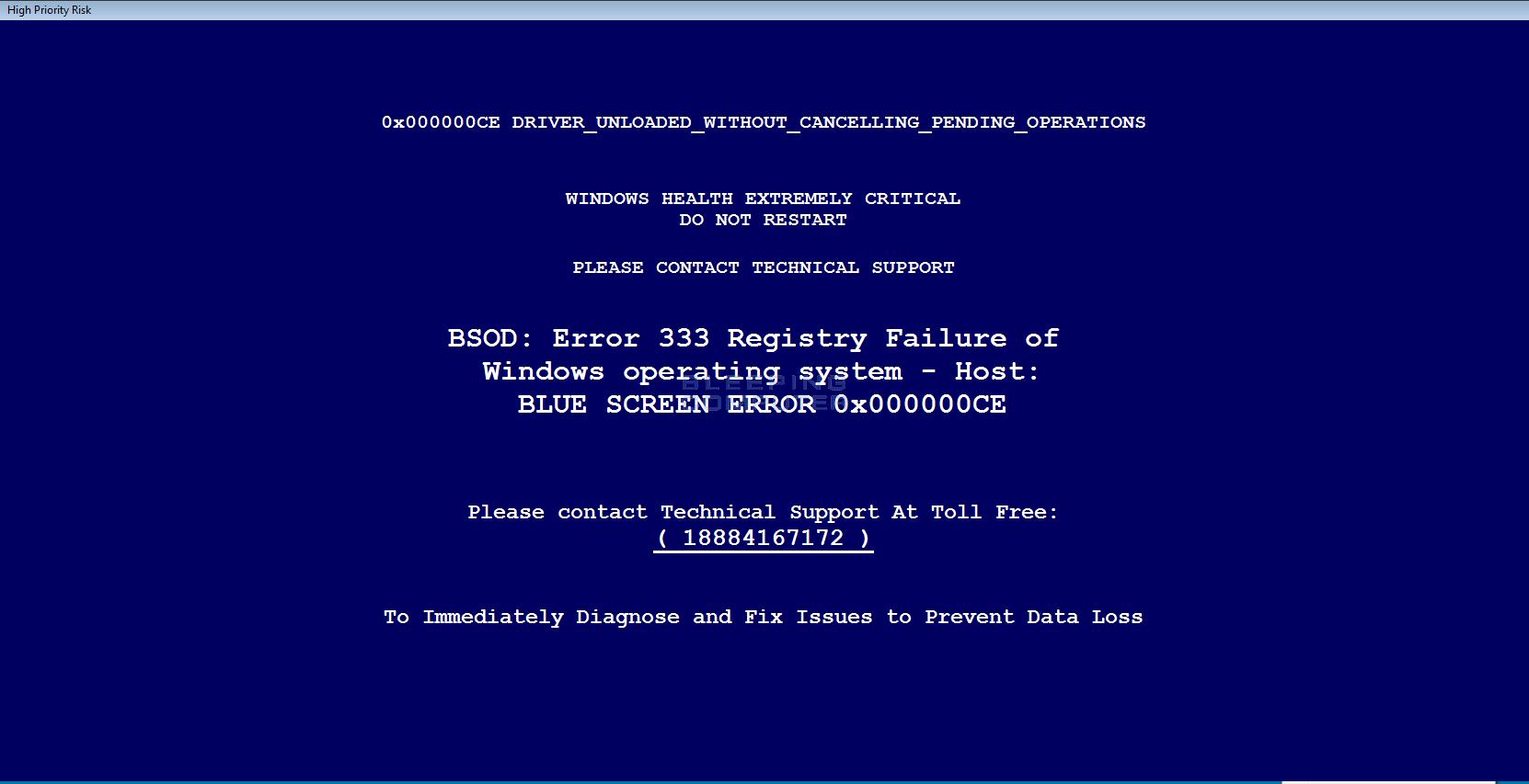 Fake Blue Screen of Death Crash