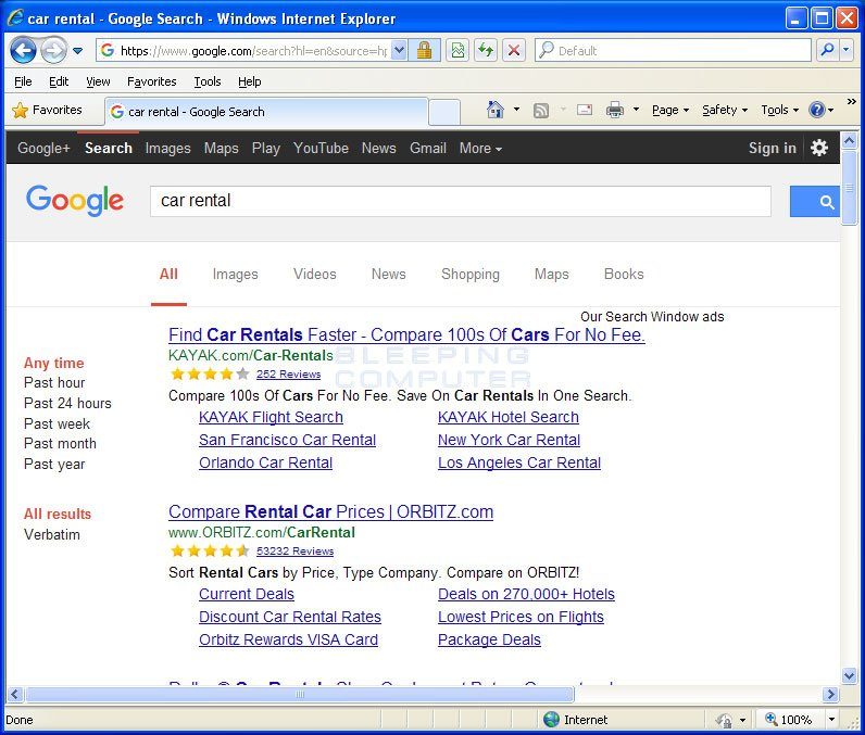 Our Search Window Ads in Google