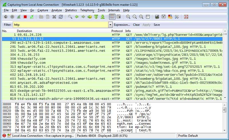 Wireshark showing connections made by Overlook