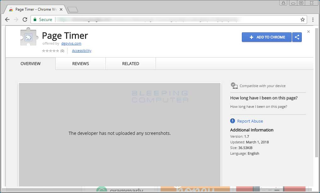 Fake Page Timer Chrome Web Store Page
