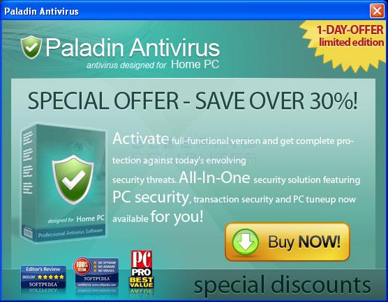 Paladin Antivirus pop-up ad