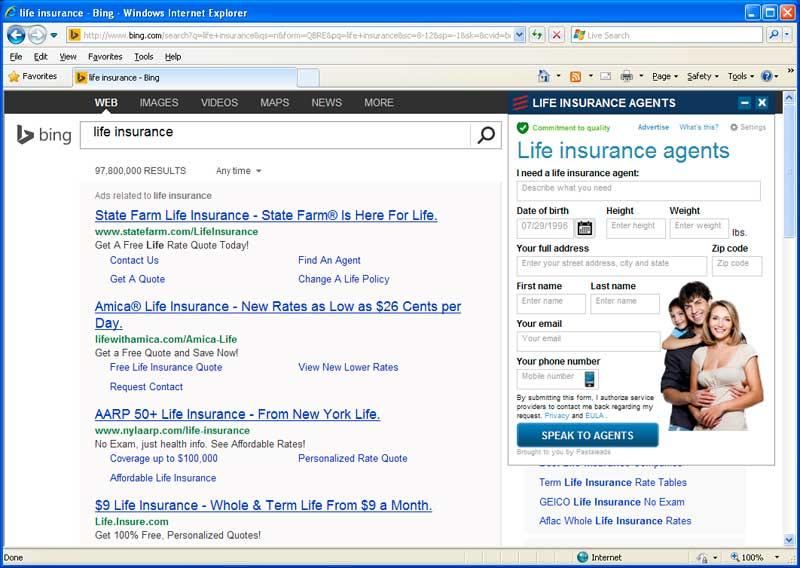 Life Insurance PastaLeads screen
