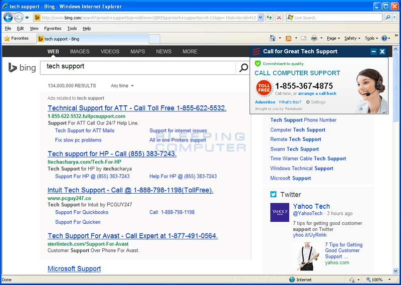 Tech Support search with PastaLeads ad