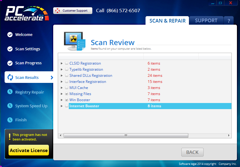 PC Accelerate Pro Scan Results