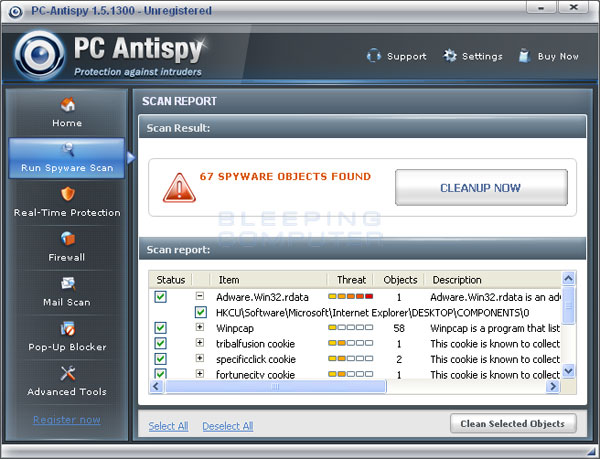 PC-Antispy scan results
