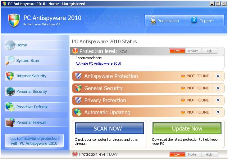 PC AntiSpyware 2010 screen shot