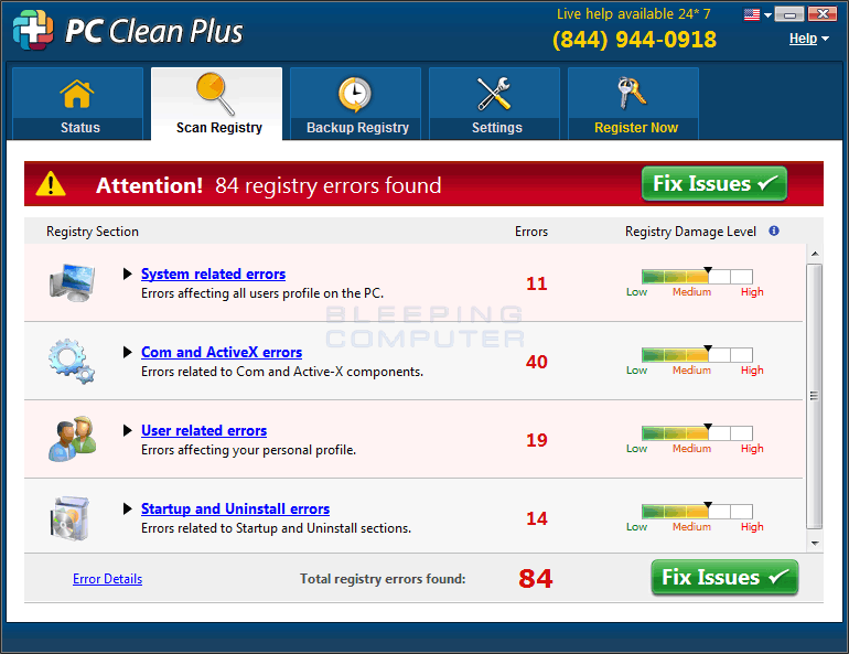 PC Clean Plus Scan Results