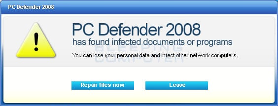 PC Defender 2008 scan summary